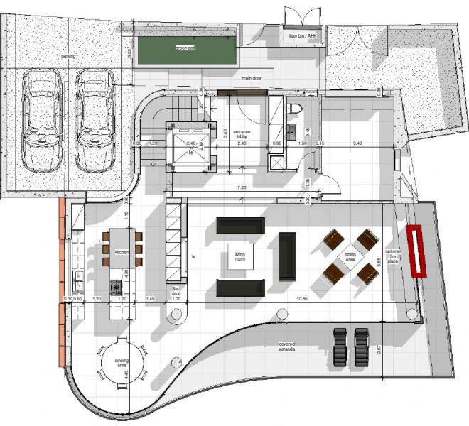 3nd level-Living room -Kitchen-Luxury villa Limassol
