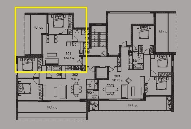 3rd floor plan - 1bd