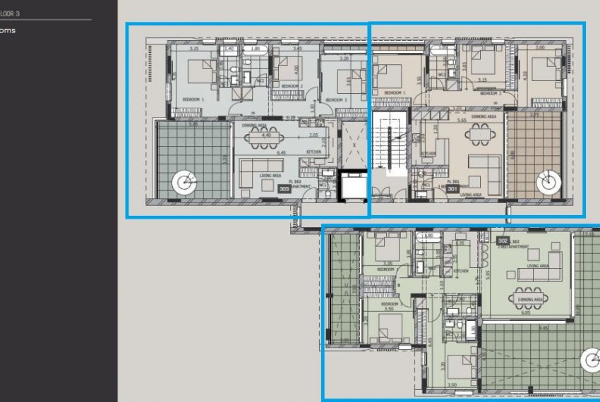 Bl C- 3rd fl- 3bds penthouse