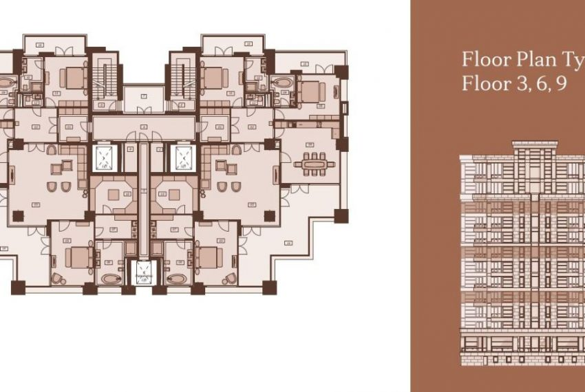 Plan type B Floors 3 6 9 n