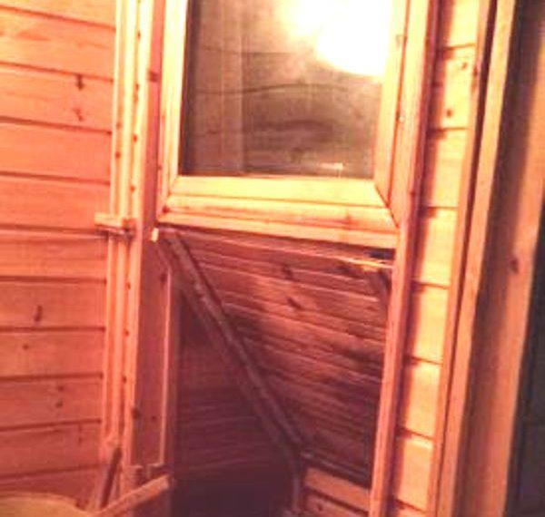 basement sauna with TV