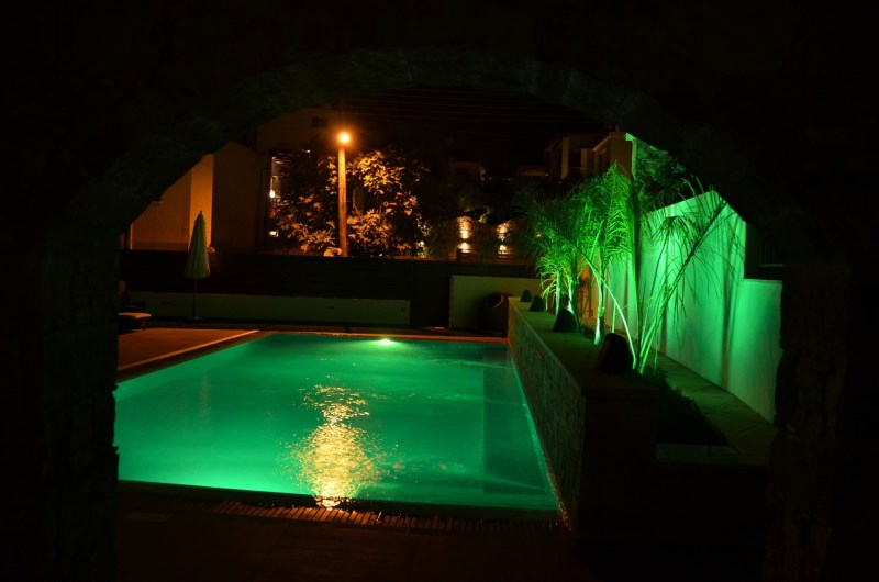 pool at night from veranda